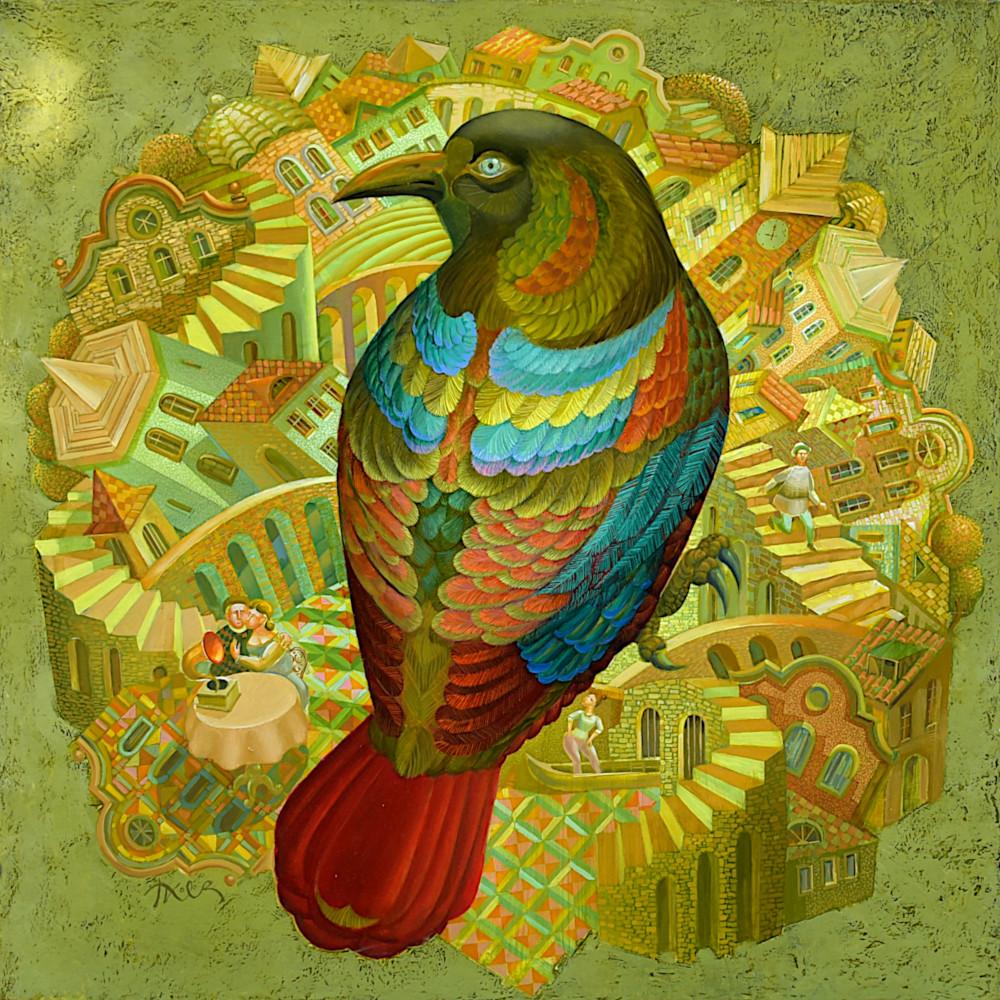 Птица над града