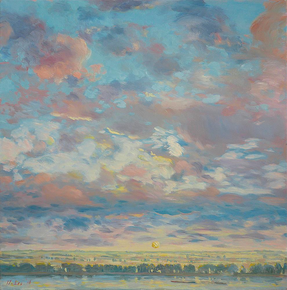 Облачна история за бряг, река и слънце