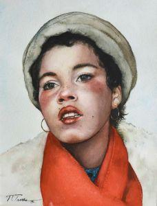 Момиче с червен шал