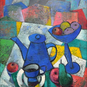 Still life with a blue kettle